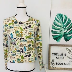 Oilily Style Retro Phrases Long Sleeve Top Sz L